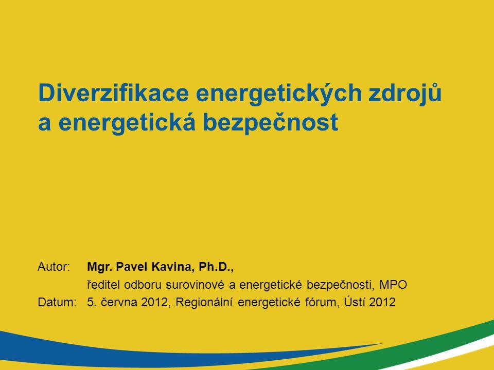 Diverzifikace energetických zdrojů a energetická bezpečnost Autor: Mgr. Pavel Kavina, Ph.D., ředitel odboru surovinové a energetické bezpečnosti, MPO