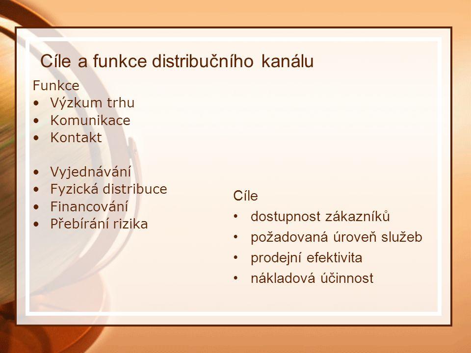 Cíle a funkce distribučního kanálu Funkce Výzkum trhu Komunikace Kontakt Vyjednávání Fyzická distribuce Financování Přebírání rizika Cíle dostupnost z