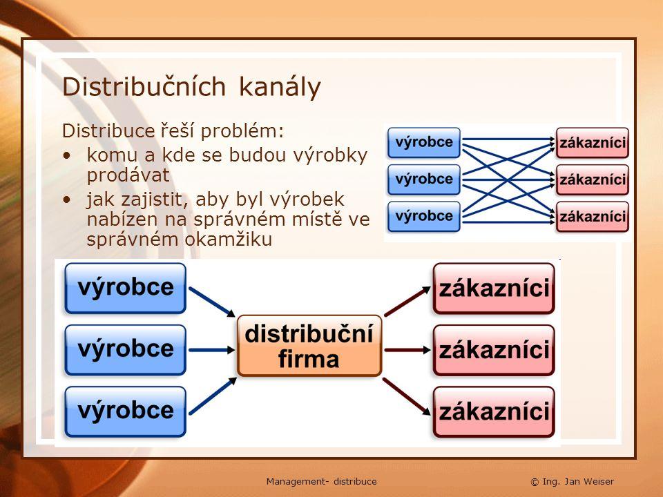 Distribučních kanály Distribuce řeší problém: komu a kde se budou výrobky prodávat jak zajistit, aby byl výrobek nabízen na správném místě ve správném