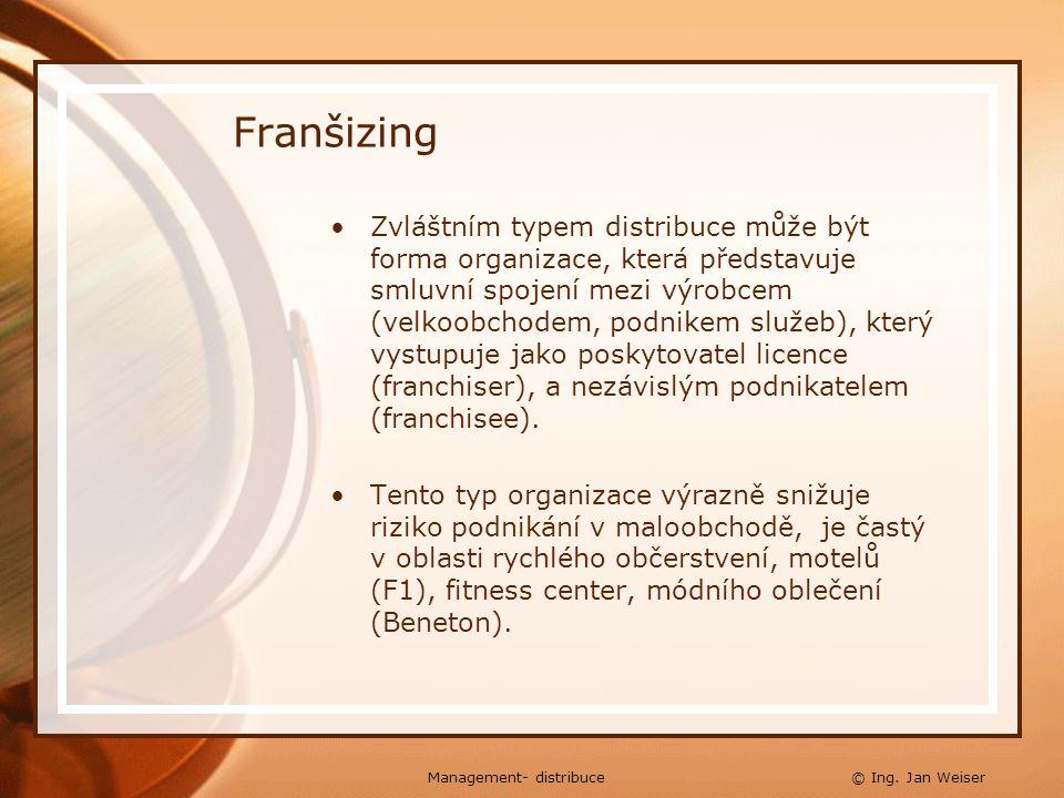 Franšizing Zvláštním typem distribuce může být forma organizace, která představuje smluvní spojení mezi výrobcem (velkoobchodem, podnikem služeb), kte