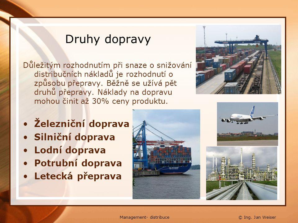 Druhy dopravy Důležitým rozhodnutím při snaze o snižování distribučních nákladů je rozhodnutí o způsobu přepravy. Běžně se užívá pět druhů přepravy. N