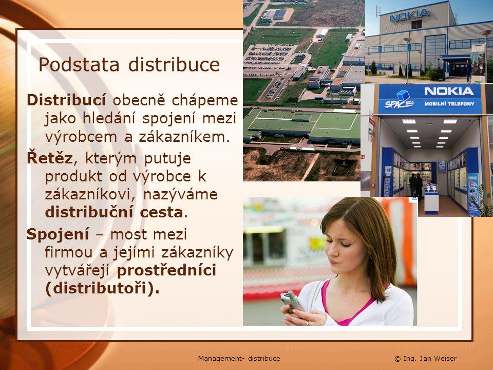 Distribuce, hlavní funkce Obchodní - zprostředkovatel zboží nakoupí do svého vlastnictví a dále prodává, přejímá riziko, že se zboží neprodá Logistická - činnosti spojené s dopravou, skladováním, dohotovením výrobku, třídění,… Podpůrné - pomáhá v prodeji, zjednodušuje pohyby výrobku, výzkum trhu, zjišťování vlivů, působící na zákazníky Management- distribuce © Ing.