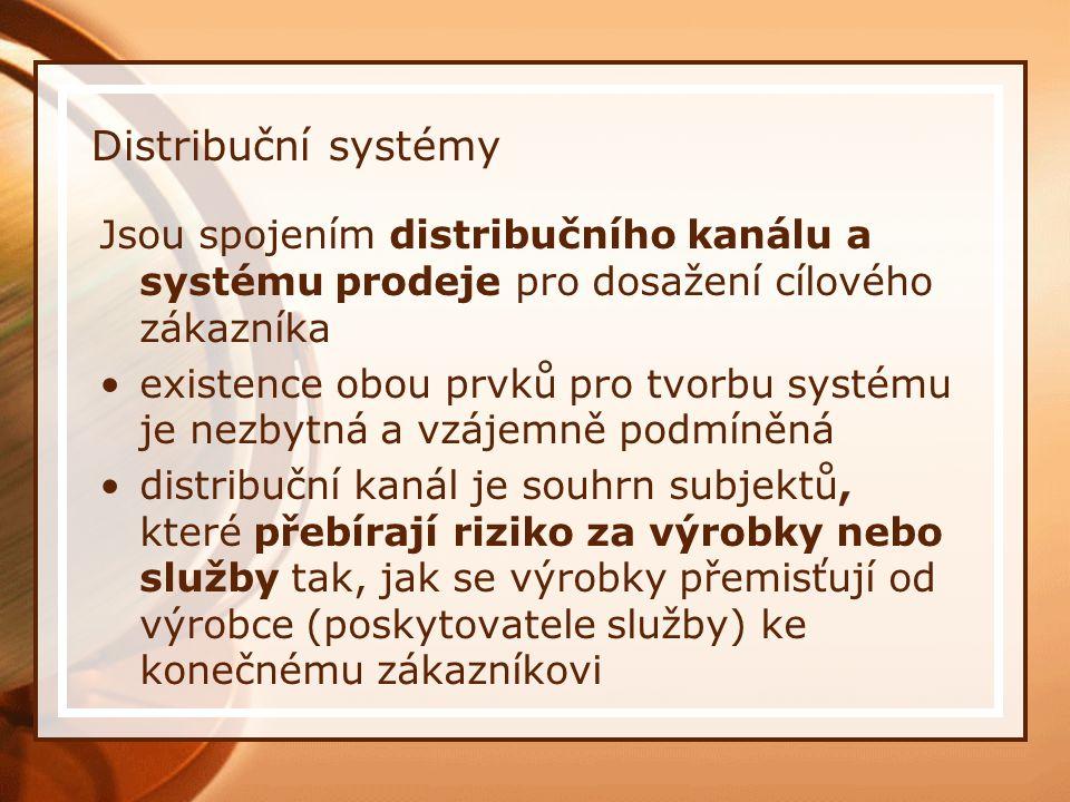 Distribuční systémy Jsou spojením distribučního kanálu a systému prodeje pro dosažení cílového zákazníka existence obou prvků pro tvorbu systému je ne