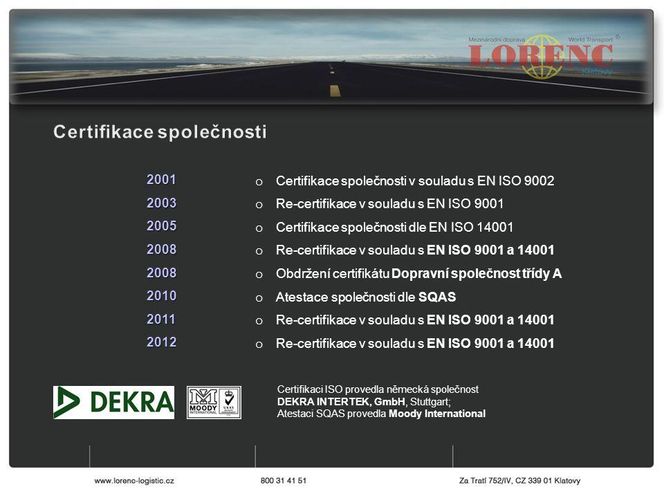 o Certifikace společnosti v souladu s EN ISO 9002 o Re-certifikace v souladu s EN ISO 9001 o Certifikace společnosti dle EN ISO 14001 o Re-certifikace v souladu s EN ISO 9001 a 14001 o Obdržení certifikátu Dopravní společnost třídy A o Atestace společnosti dle SQAS o Re-certifikace v souladu s EN ISO 9001 a 14001 20012003200520082008201020112012 Certifikaci ISO provedla německá společnost DEKRA INTERTEK, GmbH, Stuttgart; Atestaci SQAS provedla Moody International