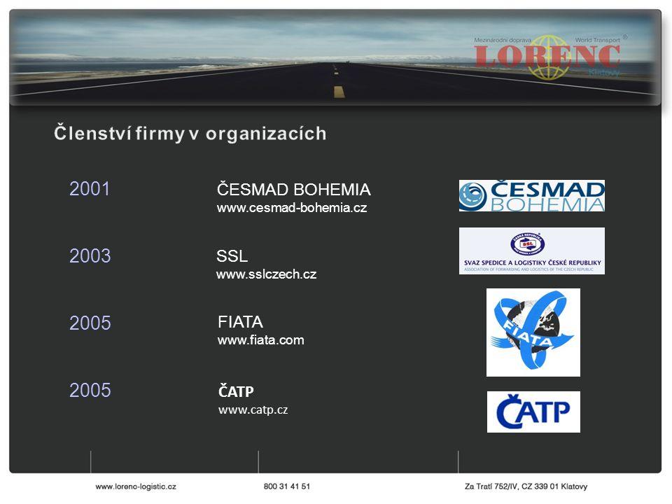 ČESMAD BOHEMIA www.cesmad-bohemia.cz 2001 2003 2005 SSL www.sslczech.cz FIATA www.fiata.com ČATP www.catp.cz