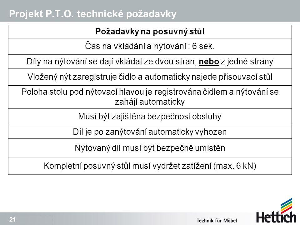 21 Projekt P.T.O. technické požadavky Požadavky na posuvný stůl Čas na vkládání a nýtování : 6 sek.