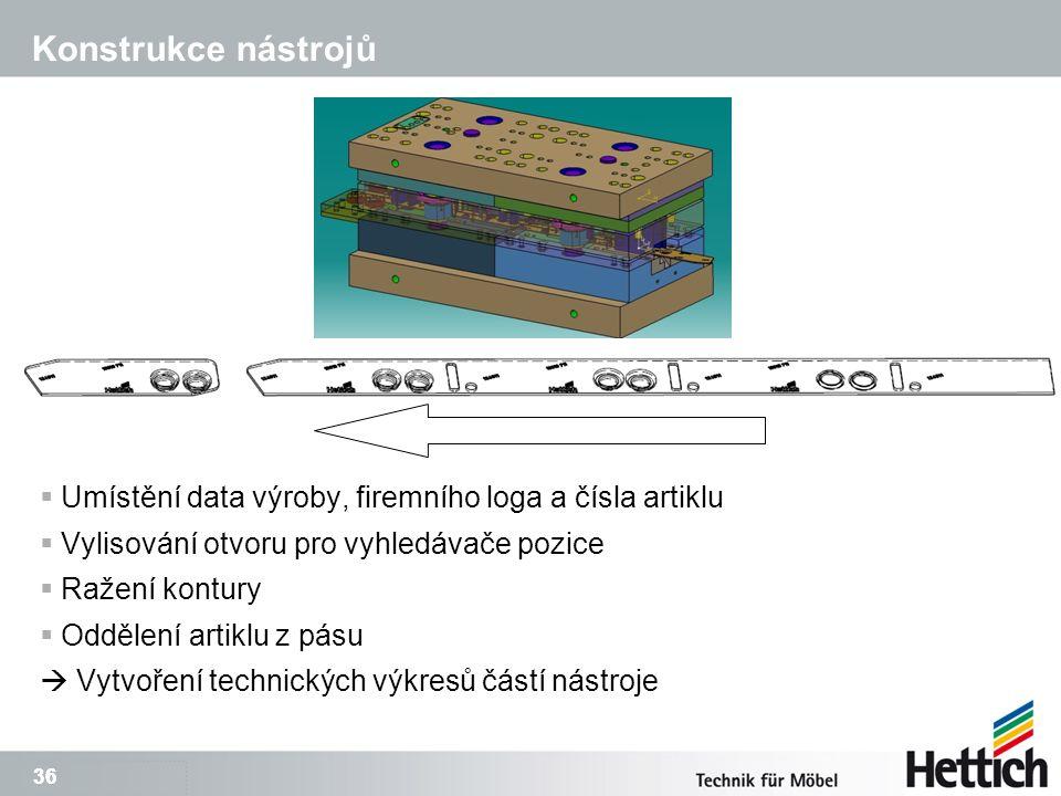 36 Konstrukce nástrojů  Umístění data výroby, firemního loga a čísla artiklu  Vylisování otvoru pro vyhledávače pozice  Ražení kontury  Oddělení artiklu z pásu  Vytvoření technických výkresů částí nástroje