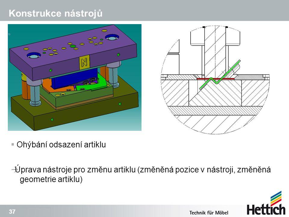 37 Konstrukce nástrojů  Ohýbání odsazení artiklu  Úprava nástroje pro změnu artiklu (změněná pozice v nástroji, změněná geometrie artiklu)