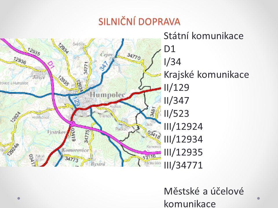 SILNIČNÍ DOPRAVA Státní komunikace D1 I/34 Krajské komunikace II/129 II/347 II/523 III/12924 III/12934 III/12935 III/34771 Městské a účelové komunikac