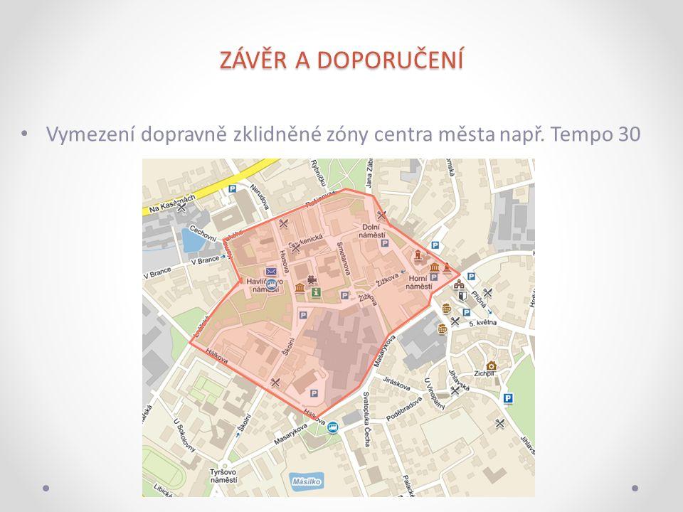 ZÁVĚR A DOPORUČENÍ Vymezení dopravně zklidněné zóny centra města např. Tempo 30