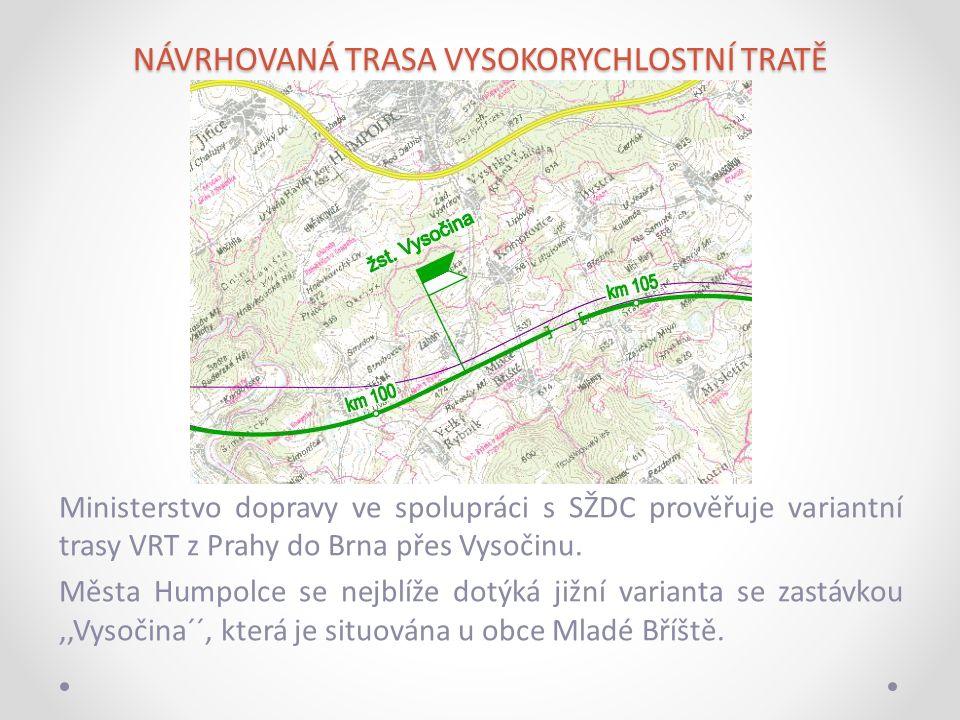 NÁVRHOVANÁ TRASA VYSOKORYCHLOSTNÍ TRATĚ Ministerstvo dopravy ve spolupráci s SŽDC prověřuje variantní trasy VRT z Prahy do Brna přes Vysočinu.