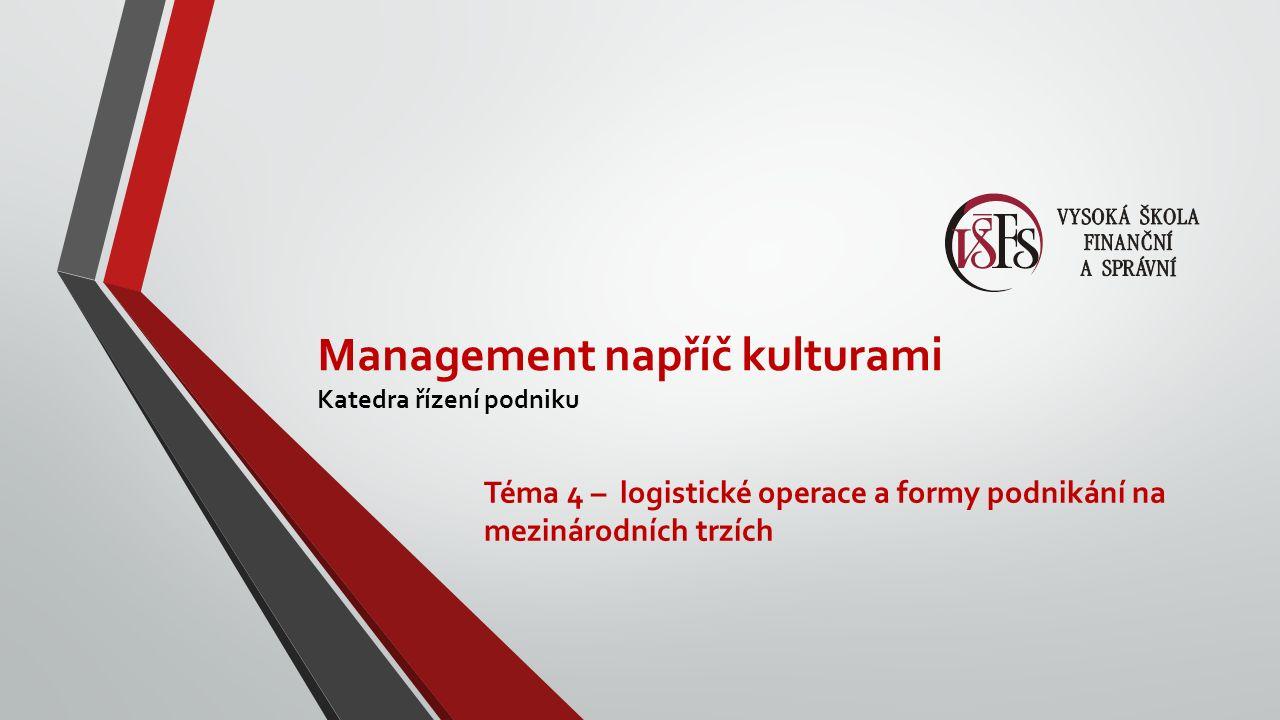 Management napříč kulturami Katedra řízení podniku Téma 4 – logistické operace a formy podnikání na mezinárodních trzích