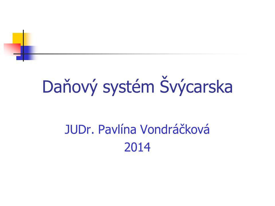 Daňový systém Švýcarska JUDr. Pavlína Vondráčková 2014