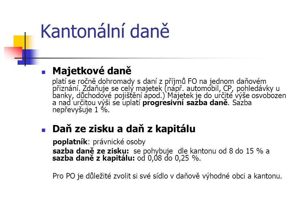 Kantonální daně Majetkové daně platí se ročně dohromady s daní z příjmů FO na jednom daňovém přiznání.