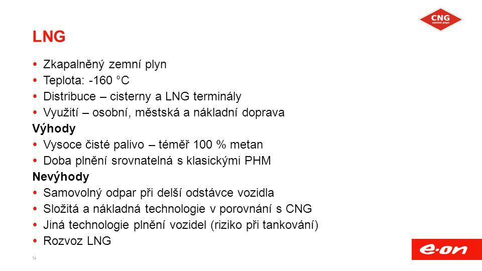 LNG  Zkapalněný zemní plyn  Teplota: -160 °C  Distribuce – cisterny a LNG terminály  Využití – osobní, městská a nákladní doprava Výhody  Vysoce čisté palivo – téměř 100 % metan  Doba plnění srovnatelná s klasickými PHM Nevýhody  Samovolný odpar při delší odstávce vozidla  Složitá a nákladná technologie v porovnání s CNG  Jiná technologie plnění vozidel (riziko při tankování)  Rozvoz LNG 14