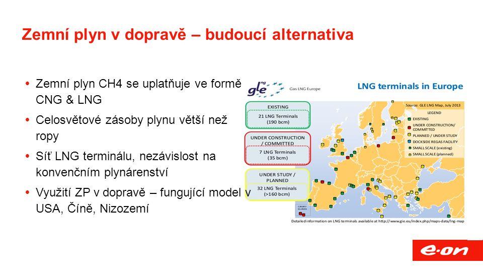 Zemní plyn v dopravě – budoucí alternativa  Zemní plyn CH4 se uplatňuje ve formě CNG & LNG  Celosvětové zásoby plynu větší než ropy  Síť LNG terminálu, nezávislost na konvenčním plynárenství  Využití ZP v dopravě – fungující model v USA, Číně, Nizozemí