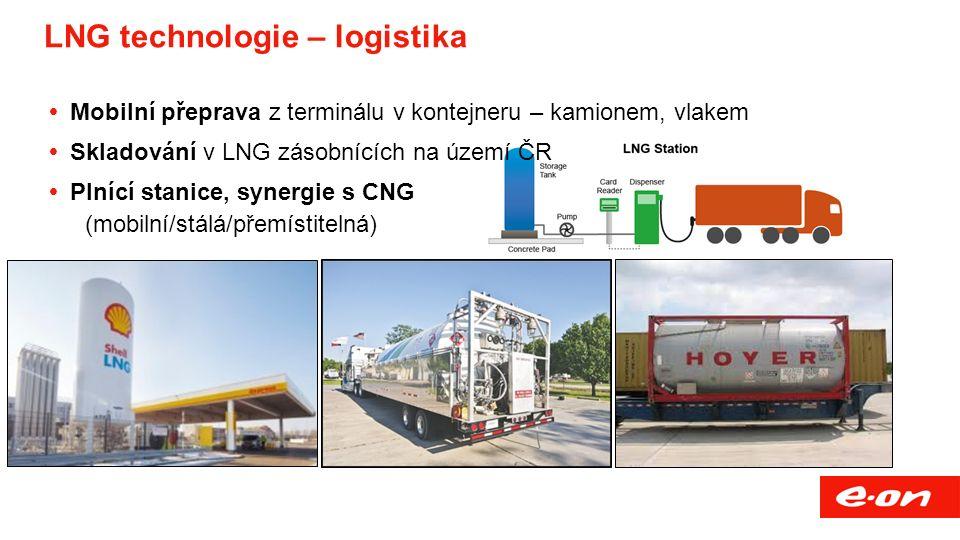 LNG technologie – logistika  Mobilní přeprava z terminálu v kontejneru – kamionem, vlakem  Skladování v LNG zásobnících na území ČR  Plnící stanice, synergie s CNG (mobilní/stálá/přemístitelná)