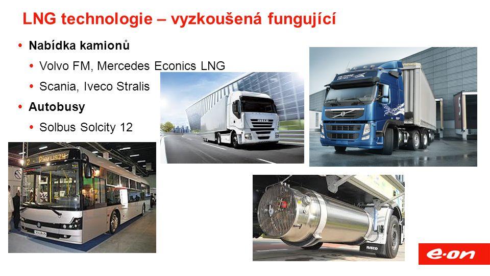 LNG technologie – vyzkoušená fungující  Nabídka kamionů  Volvo FM, Mercedes Econics LNG  Scania, Iveco Stralis  Autobusy  Solbus Solcity 12