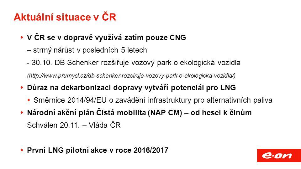 Aktuální situace v ČR  V ČR se v dopravě využívá zatím pouze CNG – strmý nárůst v posledních 5 letech - 30.10. DB Schenker rozšiřuje vozový park o ek