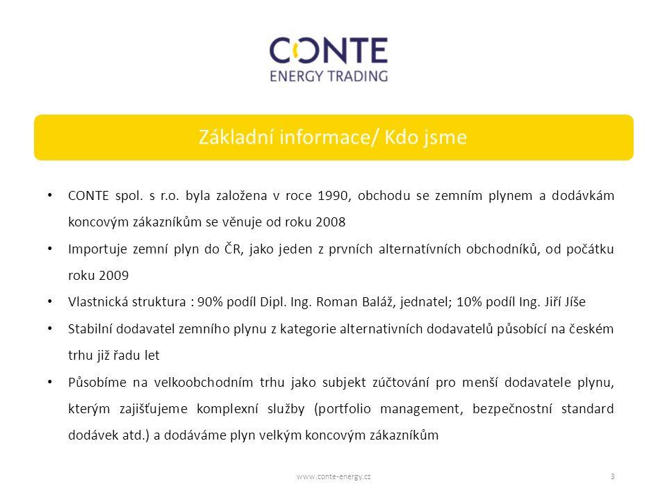 Základní informace/ Kdo jsme www.conte-energy.cz3 CONTE spol. s r.o. byla založena v roce 1990, obchodu se zemním plynem a dodávkám koncovým zákazníků