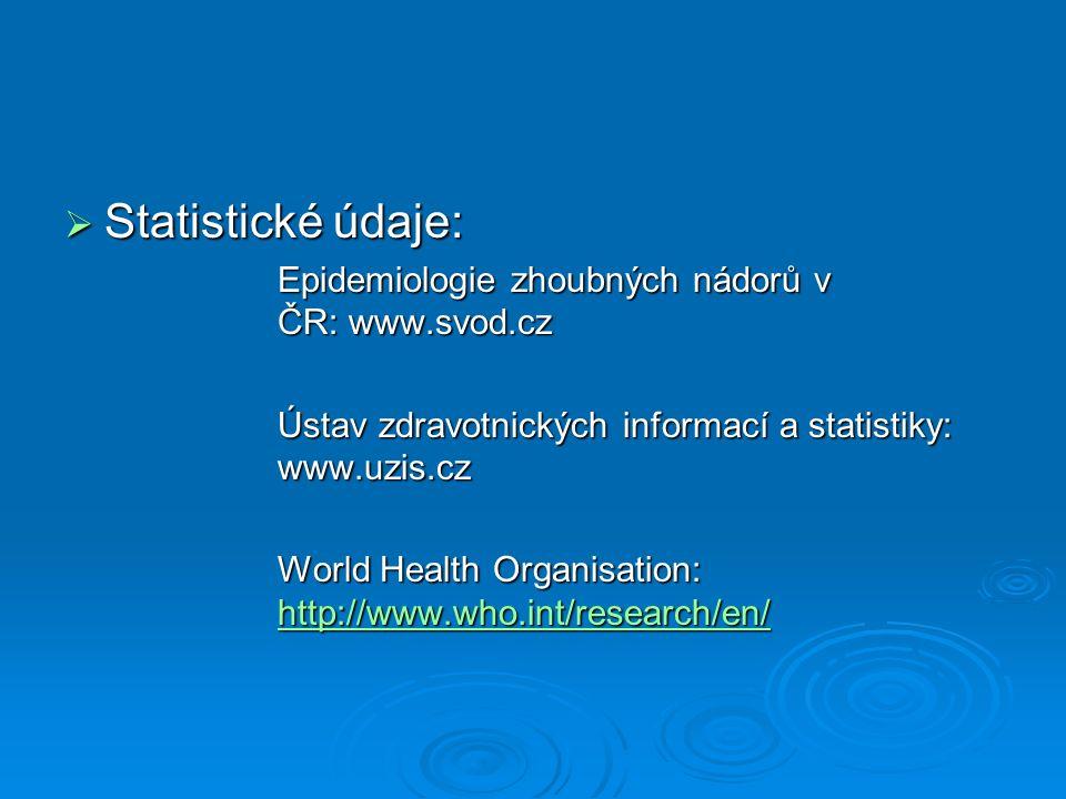  Statistické údaje: Epidemiologie zhoubných nádorů v ČR: www.svod.cz Ústav zdravotnických informací a statistiky: www.uzis.cz World Health Organisation: http://www.who.int/research/en/ http://www.who.int/research/en/