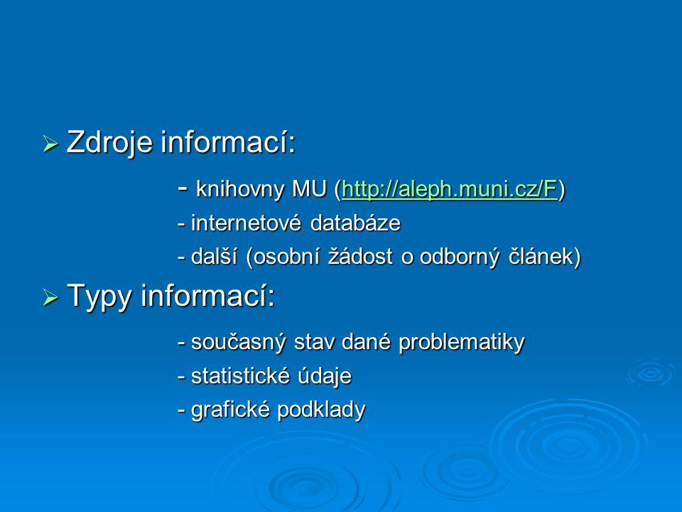  Zdroje informací: - knihovny MU (http://aleph.muni.cz/F) http://aleph.muni.cz/F - internetové databáze - další (osobní žádost o odborný článek)  Typy informací: - současný stav dané problematiky - statistické údaje - grafické podklady