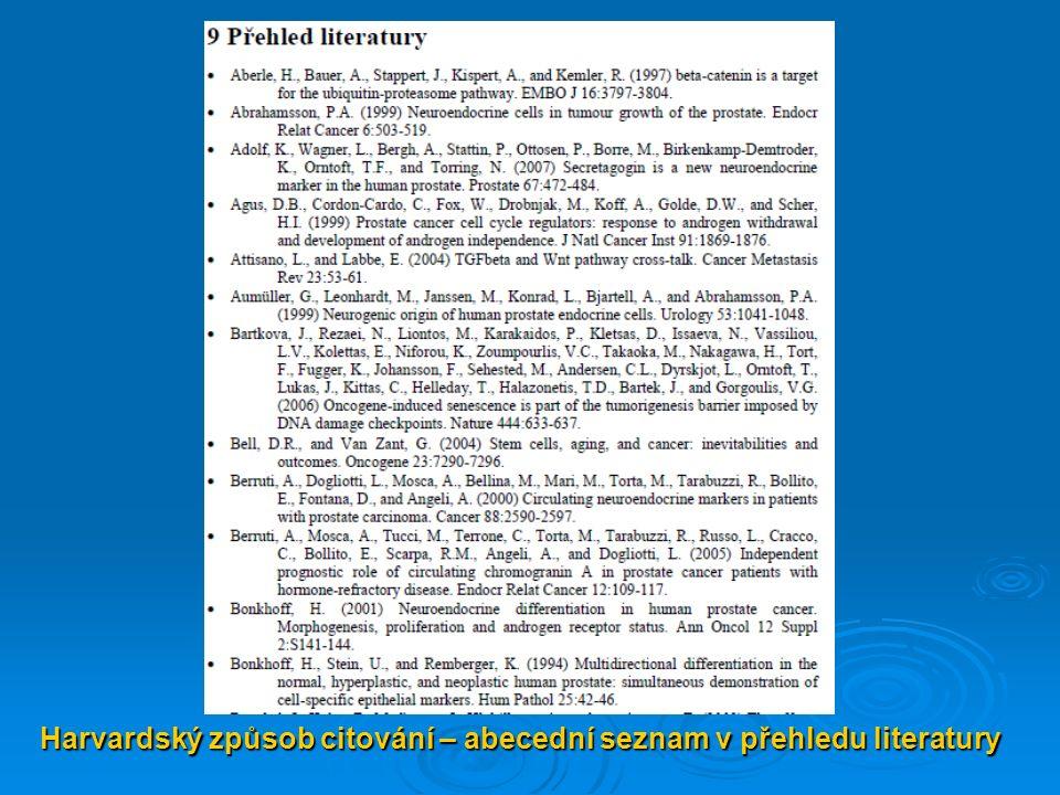 Harvardský způsob citování – abecední seznam v přehledu literatury