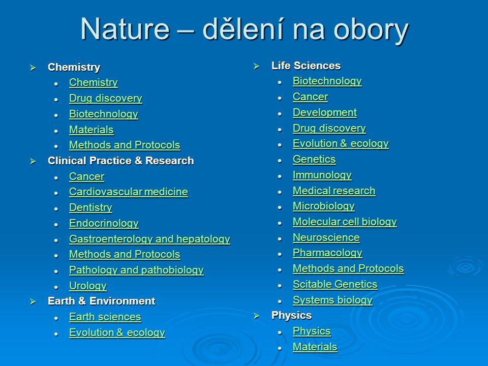 Nature – dělení na obory  Chemistry Chemistry Chemistry Chemistry Drug discovery Drug discovery Drug discovery Drug discovery Biotechnology Biotechno