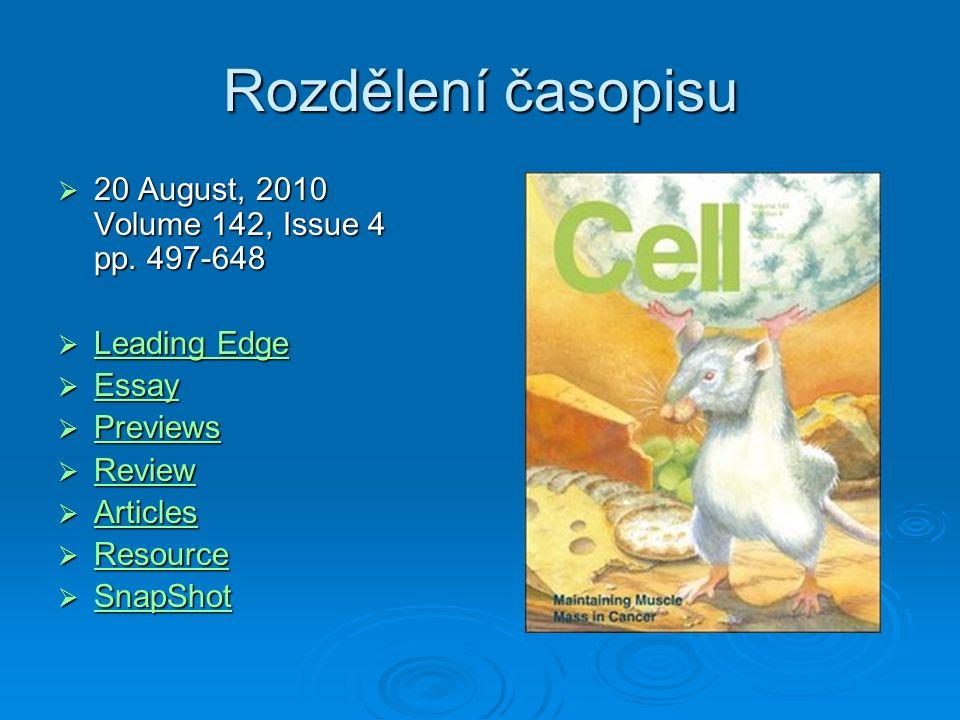 Rozdělení časopisu  20 August, 2010 Volume 142, Issue 4 pp.