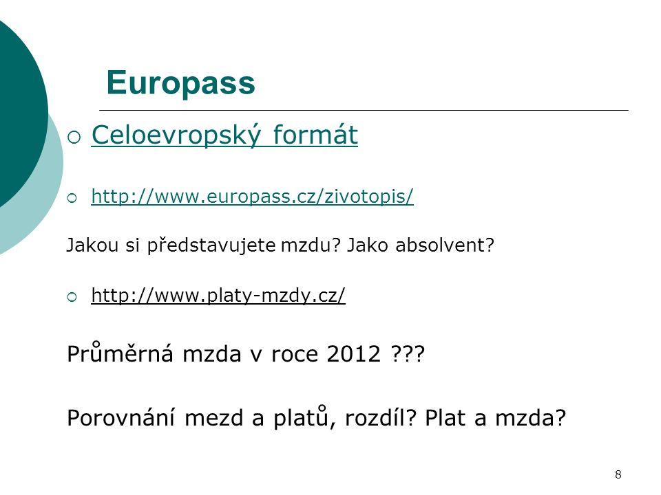 Europass  Celoevropský formát Celoevropský formát  http://www.europass.cz/zivotopis/ http://www.europass.cz/zivotopis/ Jakou si představujete mzdu?