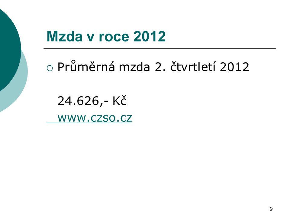 Mzda v roce 2012  Průměrná mzda 2. čtvrtletí 2012 24.626,- Kč www.czso.cz 9