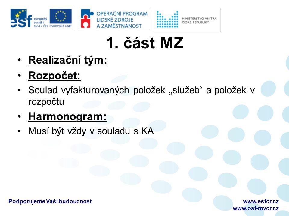 "1. část MZ Realizační tým: Rozpočet: Soulad vyfakturovaných položek ""služeb"" a položek v rozpočtu Harmonogram: Musí být vždy v souladu s KA www.esfcr."