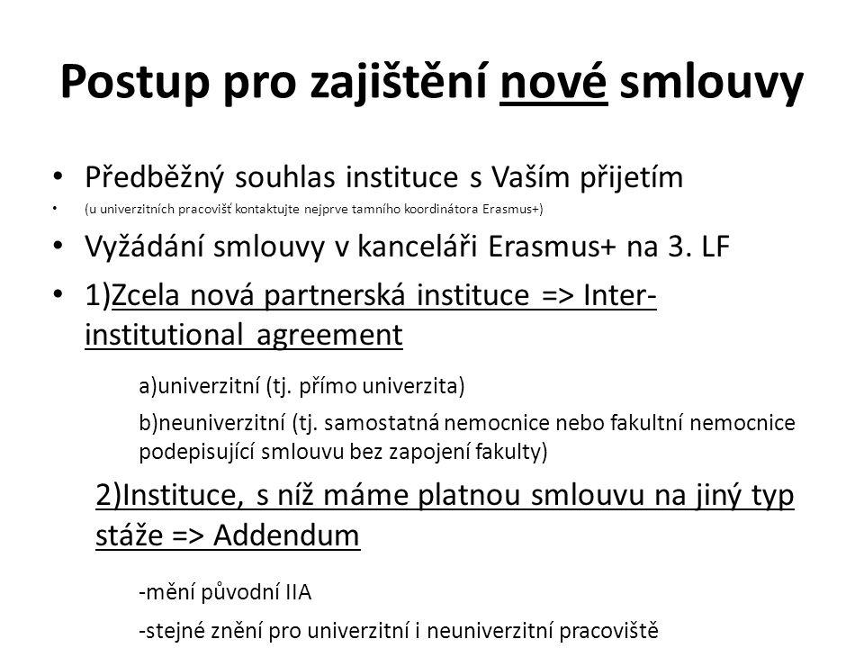 Postup pro zajištění nové smlouvy Předběžný souhlas instituce s Vaším přijetím (u univerzitních pracovišť kontaktujte nejprve tamního koordinátora Erasmus+) Vyžádání smlouvy v kanceláři Erasmus+ na 3.