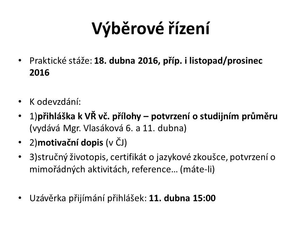 Výběrové řízení Praktické stáže: 18. dubna 2016, příp.