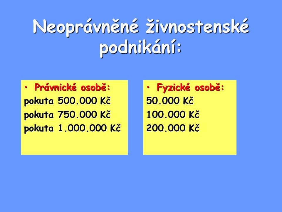 Neoprávněné živnostenské podnikání: Právnické osobě:Právnické osobě: pokuta 500.000 Kč pokuta 750.000 Kč pokuta 1.000.000 Kč Fyzické osobě:Fyzické oso
