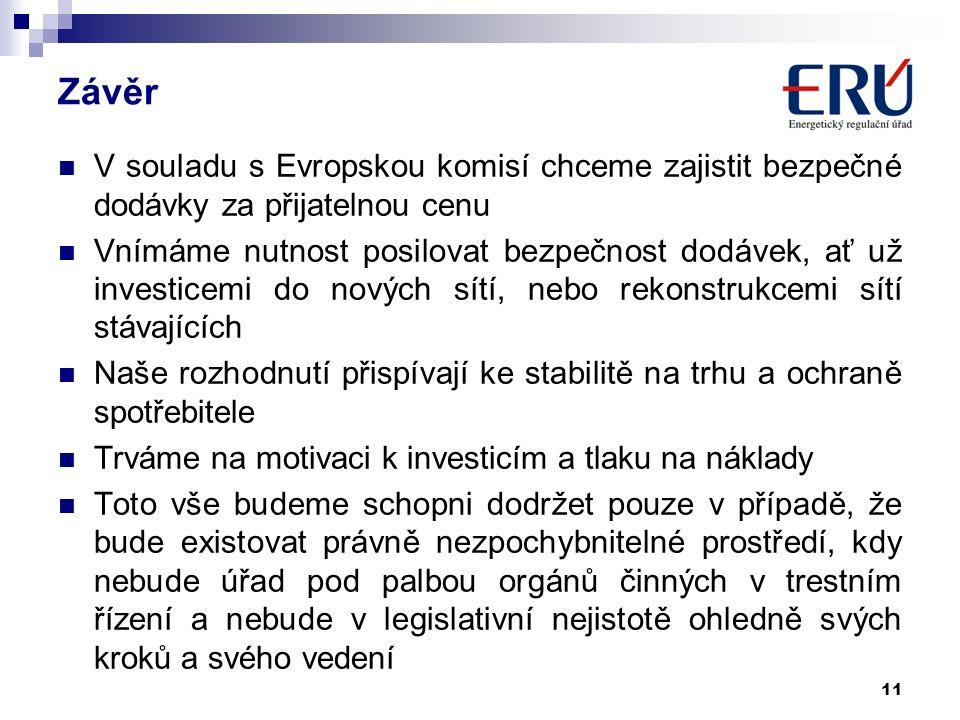 Závěr V souladu s Evropskou komisí chceme zajistit bezpečné dodávky za přijatelnou cenu Vnímáme nutnost posilovat bezpečnost dodávek, ať už investicemi do nových sítí, nebo rekonstrukcemi sítí stávajících Naše rozhodnutí přispívají ke stabilitě na trhu a ochraně spotřebitele Trváme na motivaci k investicím a tlaku na náklady Toto vše budeme schopni dodržet pouze v případě, že bude existovat právně nezpochybnitelné prostředí, kdy nebude úřad pod palbou orgánů činných v trestním řízení a nebude v legislativní nejistotě ohledně svých kroků a svého vedení 11