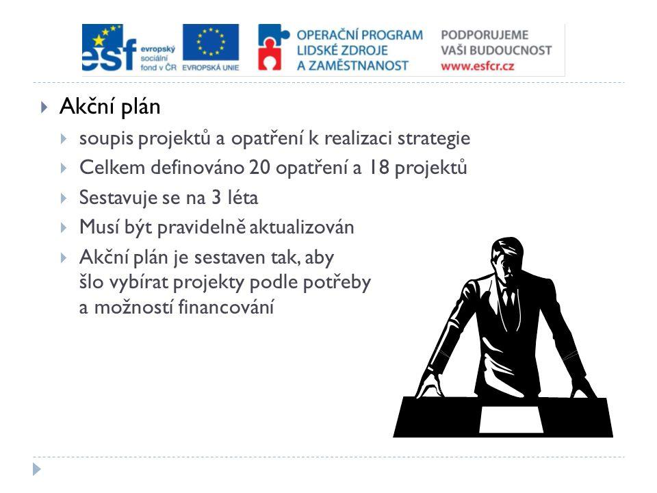  Akční plán  soupis projektů a opatření k realizaci strategie  Celkem definováno 20 opatření a 18 projektů  Sestavuje se na 3 léta  Musí být pravidelně aktualizován  Akční plán je sestaven tak, aby šlo vybírat projekty podle potřeby a možností financování