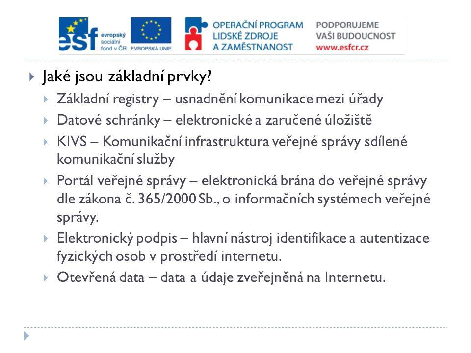  Jaké jsou základní prvky?  Základní registry – usnadnění komunikace mezi úřady  Datové schránky – elektronické a zaručené úložiště  KIVS – Komuni