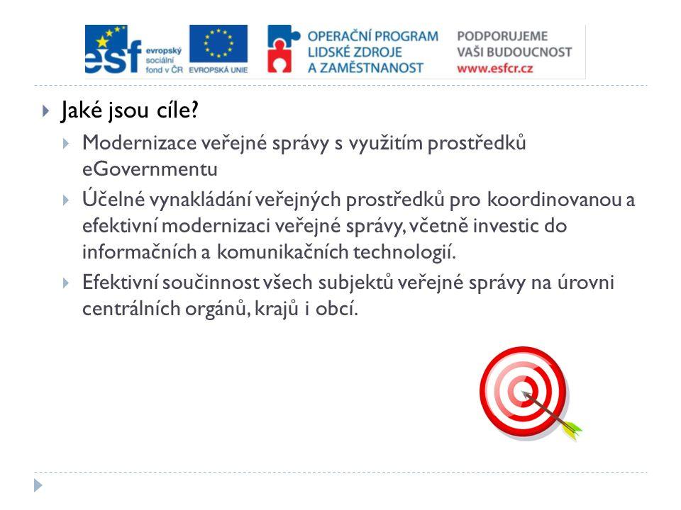  Jaké jsou cíle?  Modernizace veřejné správy s využitím prostředků eGovernmentu  Účelné vynakládání veřejných prostředků pro koordinovanou a efekti