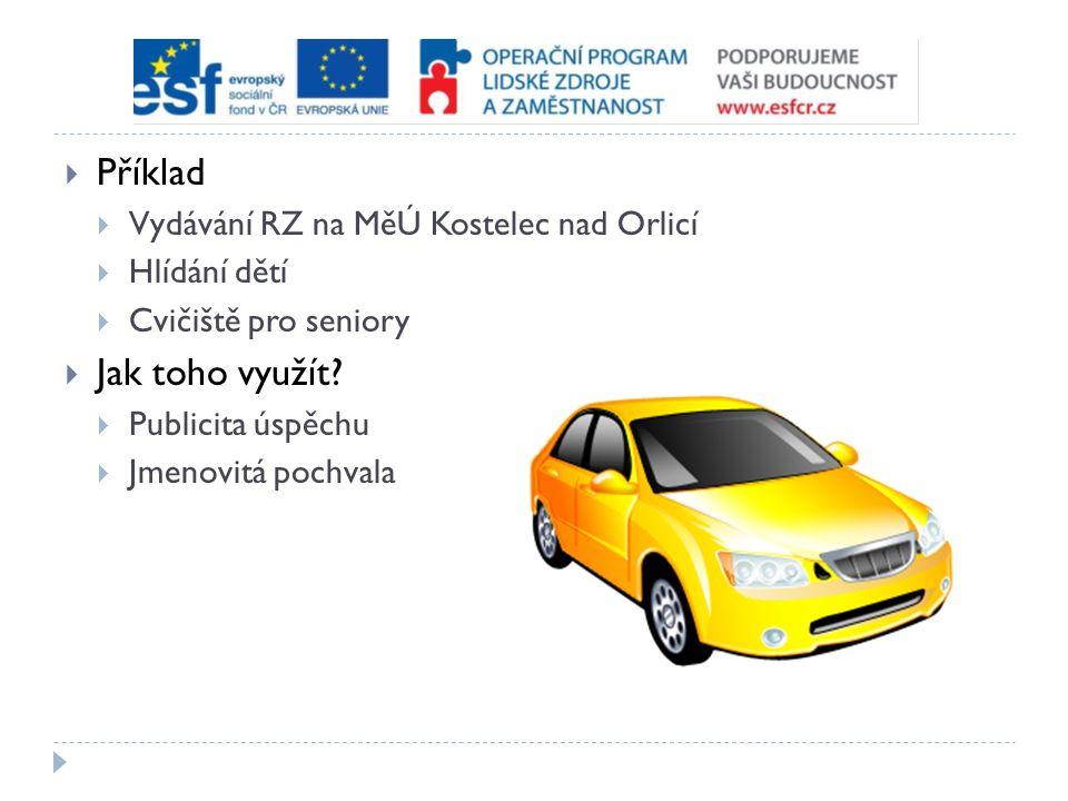  Příklad  Vydávání RZ na MěÚ Kostelec nad Orlicí  Hlídání dětí  Cvičiště pro seniory  Jak toho využít.