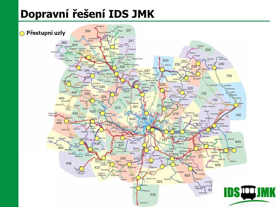 Dopravní řešení IDS JMK Přestupní uzly