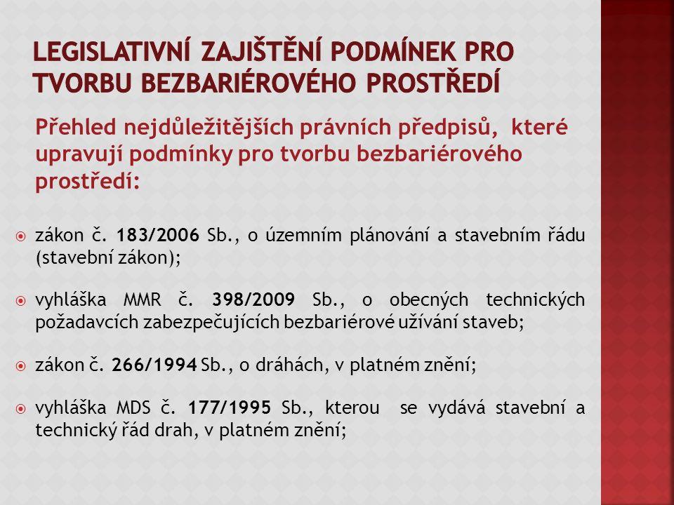 Přehled nejdůležitějších právních předpisů, které upravují podmínky pro tvorbu bezbariérového prostředí:  zákon č.