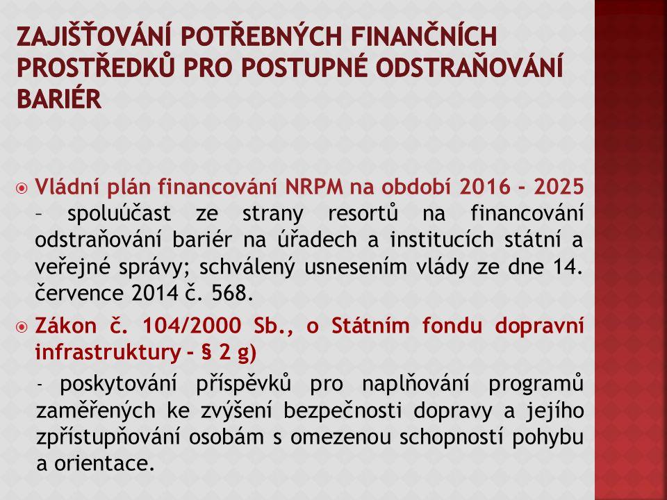  Vládní plán financování NRPM na období 2016 - 2025 – spoluúčast ze strany resortů na financování odstraňování bariér na úřadech a institucích státní a veřejné správy; schválený usnesením vlády ze dne 14.
