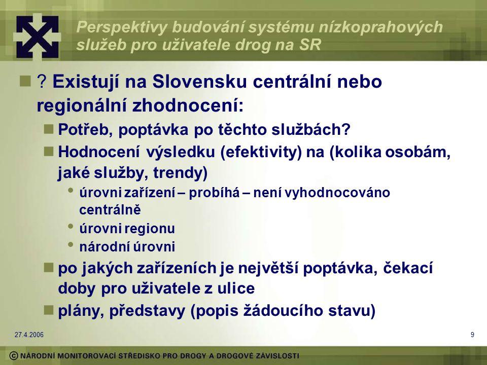 27.4.200610 Perspektivy budování systému nízkoprahových služeb pro uživatele drog na SR Co chybí.
