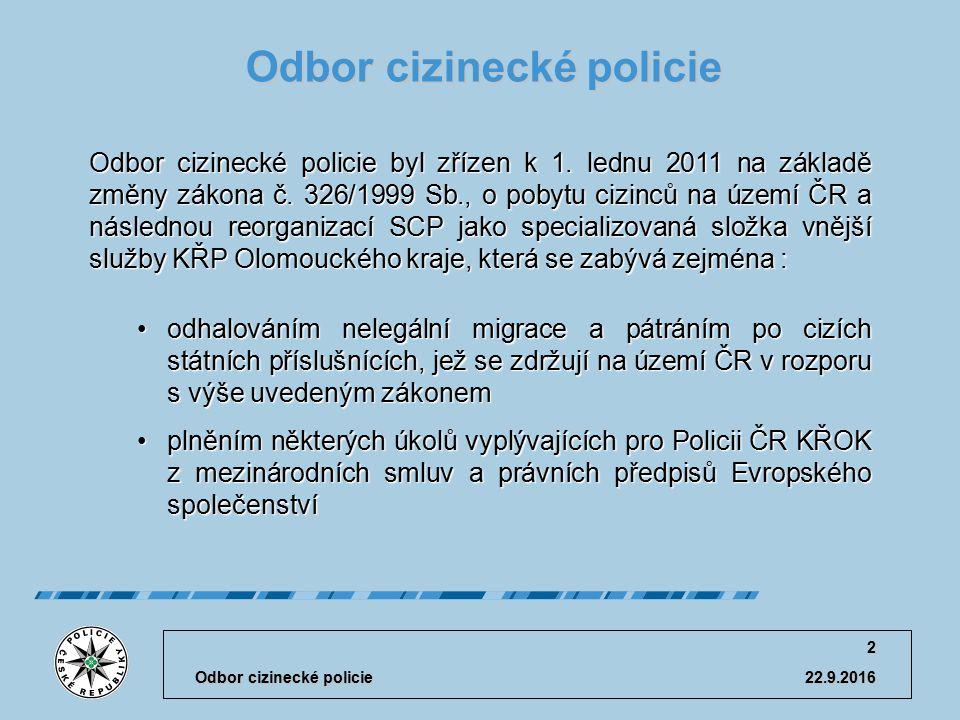 22.9.2016 Odbor cizinecké policie 3 Organizační struktura odboru Odbor cizinecké policie (OCP) Oddělení pobytových agend (OPA) Oddělení dokladů a specializovaných činností(ODSČ)Oddělení dokumentace dokumentace(OD)Oddělení pobytové kontroly, pátrání a eskort (OPKPE)