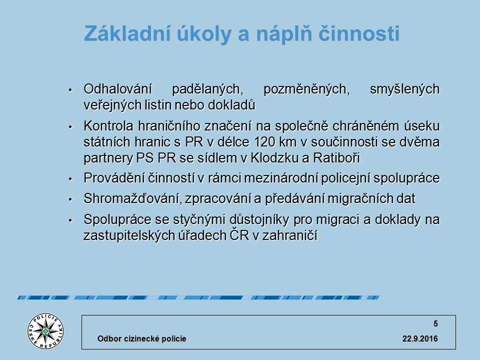 Krajské ředitelství policie Olomouckého kraje Odbor cizinecké policie 22.9.2016