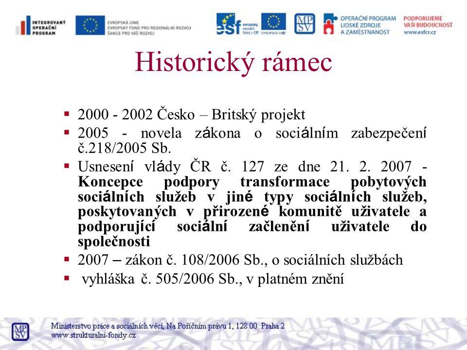 Historický rámec  2000 - 2002 Česko – Britský projekt  2005 - novela z á kona o soci á ln í m zabezpečen í č.218/2005 Sb.