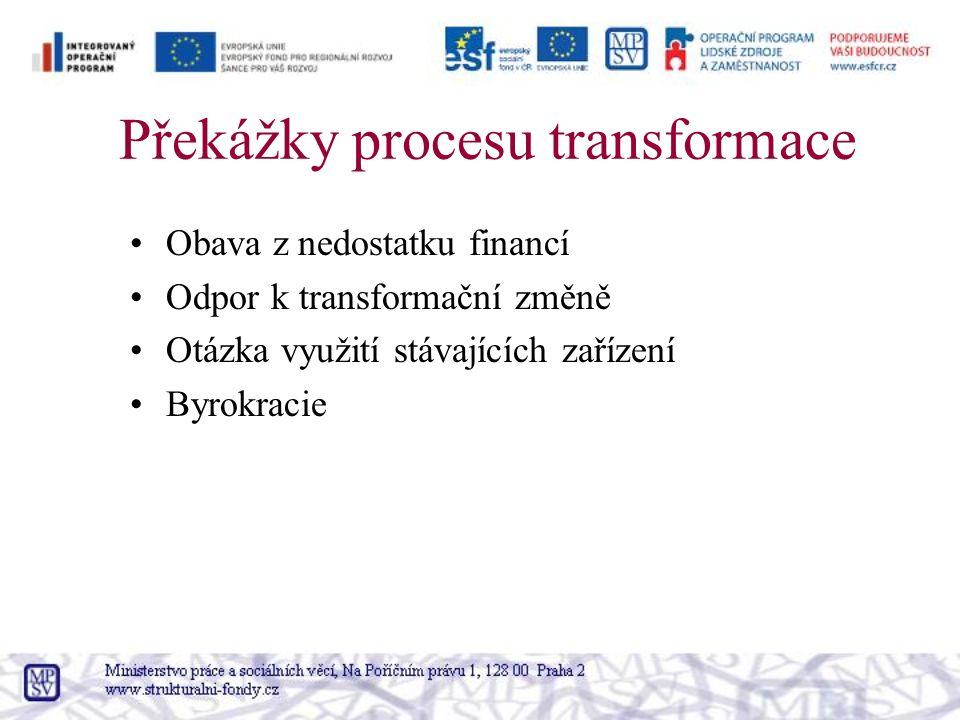 Překážky procesu transformace Obava z nedostatku financí Odpor k transformační změně Otázka využití stávajících zařízení Byrokracie