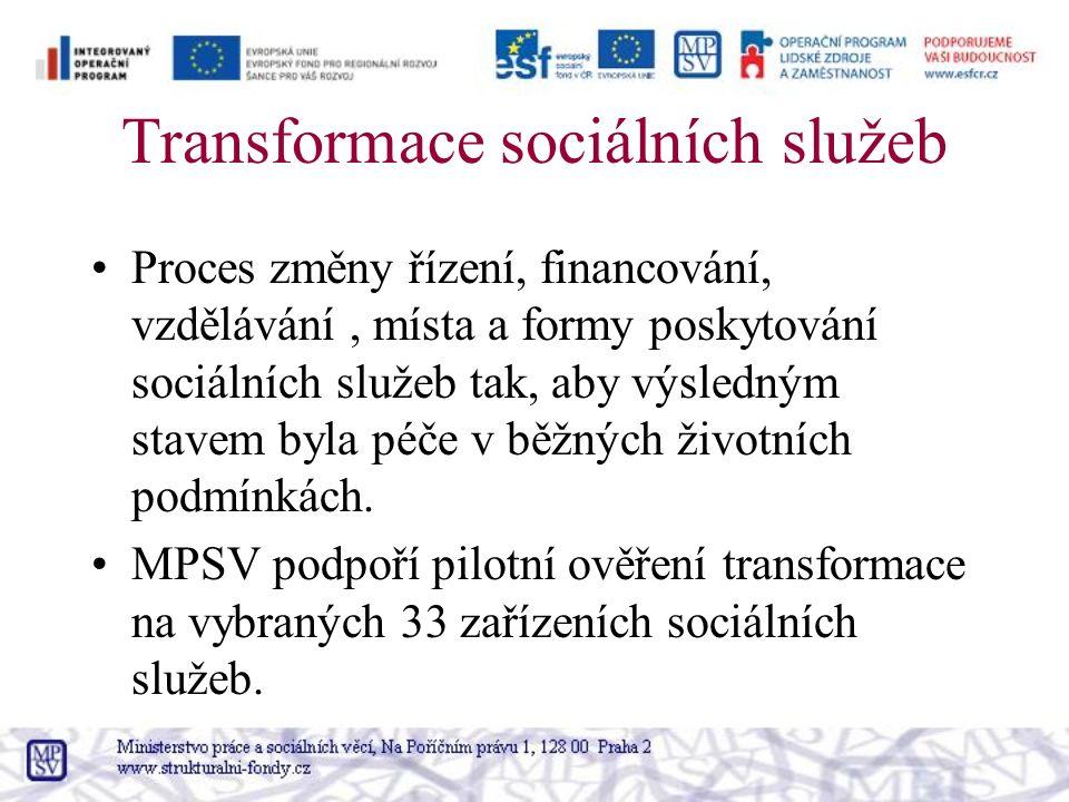 Transformace sociálních služeb Proces změny řízení, financování, vzdělávání, místa a formy poskytování sociálních služeb tak, aby výsledným stavem byla péče v běžných životních podmínkách.
