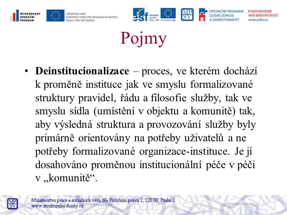 Pojmy Deinstitucionalizace – proces, ve kterém dochází k proměně instituce jak ve smyslu formalizované struktury pravidel, řádu a filosofie služby, tak ve smyslu sídla (umístění v objektu a komunitě) tak, aby výsledná struktura a provozování služby byly primárně orientovány na potřeby uživatelů a ne potřeby formalizované organizace-instituce.
